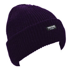 3M Purple Thinsulate Chunky Beanie Hat Thermal Ski Hats Mens Womens Adults Kids
