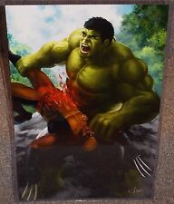 Hulk vs Wolverine Glossy Art Print 11 x 17 In Hard Plastic Sleeve