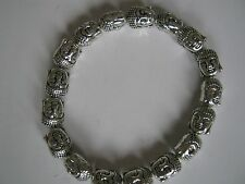BEAUTIFUL TIBETAN SILVER BUDDHA HEAD BEAD BRACELET
