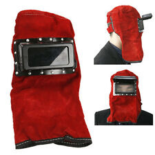 Red Leather Face Neck Protected Lens Glasses Welding Hood Helmet Mask
