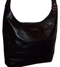 COACH LEATHER PIECED DUFFLE LARGE HANDBAG PURSE BLACK #F17116 $358 PERFECT STYLE