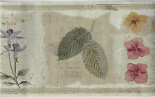 BOTANICAL LEAVES AND FLOWERS WITH GOLD MUSIC NOTES WALLPAPER BORDER