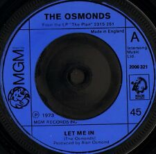 """THE OSMONDS let me in/one way ticket to anywhere 2006 321 uk 1973 7"""" VG/"""