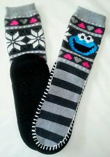 Women's Sesame Street Cookie Monster Warm Socks House Shoes Winter Slip On New
