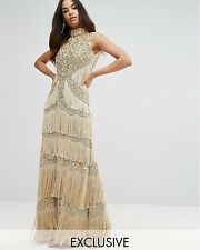 New A Star Is Born Embellished High Neck Maxi Dress With Fringe UK6 EU34 RRP£289