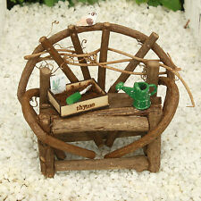 Twig Garden Bench with Accessories Fairy Garden Miniature Handmade by Jennifer