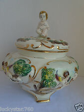 VINTAGE CAPODIMONTE COVERED CHERUBS HAND CRAFTED BOWL URN