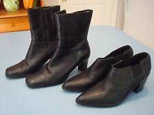 Women's Black Leather Ankle/Calf Boots Lot of 2 size 5.5 M  Casulal Corner/Euro