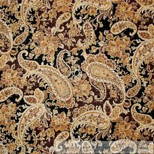 BonEful FABRIC FQ Cotton Quilt Black Gold Leaf Flower Paisley Metallic Antique L