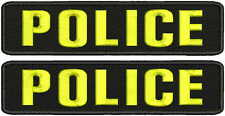 POLICE embroidery patches  2x9 velcro yellow letters