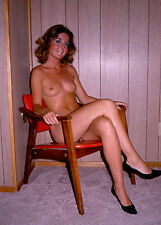 1970s Armature Nude pinup sitting in modern chair 8 x 10 Photograph