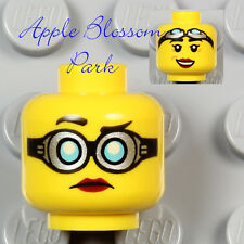 NEW Lego Agents Female MINIFIG HEAD w/Prof Hydron Goggles Red Lips Girl Smile