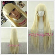 Cute Girl Beige golden Straight Chobits Eruda Cosplay Wig CC118B +FREE WIG CAP