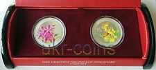 2008 Singapore Heritage Orchids 2-coin silver set $5 Flower Flora WWF 5 Dollar