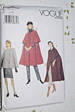 VOGUE Sewing Pattern 7186 Misses' Cape With Hood Coat UNCUT Size L-XL