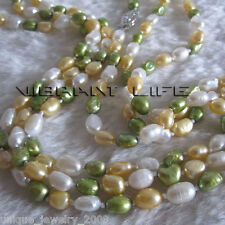 """56"""" 5-6mm White Gold Green Baroque Freshwater Pearl Necklace Z"""