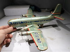 VINTAGE TIN TOY AIRPLANE  UNITED AIRLINES MAINLINER PROP PLANE  JAPAN BATT. OP