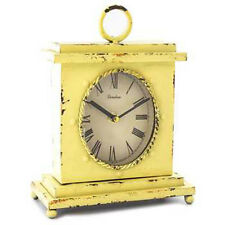 Table Clock Mantle Clock Chic Vintage Style Paris Clock Yellow Oval Shabby NEW