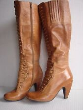 Miz Mooz Solis Military MOTO Leather lace Up Front Zip Heel Boots Womens sz 6.5