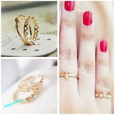 Stylish Cute Gold Plated Heart Bowknot Joint Nail Ring Set Of Two Rings