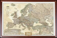 FRAMED EUROPE MAP by National Geographic Perfect for Push Pins Walnut Gold Inlay