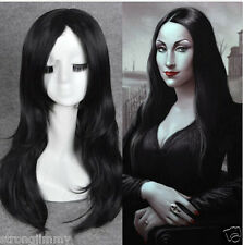 Morticia Addams Adams Family cosplay wig long black natural straight full wi G23