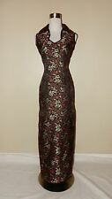 Vintage Dragon Cheongsam Asian Black Red Gold Satin Brocade Formal Gown Size S