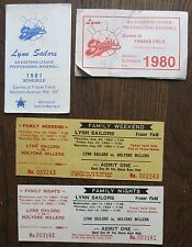 Lynn Sailors 1980 & 1981 Pocket Schedules; two 1982 Tickets (Seattle Mariners)