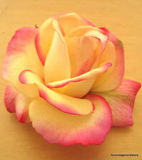 "4"" Yellow & Pink Poly Silk True Touch Rose Flower Hair Clip,Wedding,Prom,Bridal"