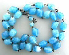 Vintage Blue Lace Glass Bead Necklace Long Strand 1/2x32-35""