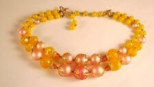 Vintage Deauville Amber Yellow Pink Gold tone Lucite Beaded Collar Necklace