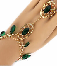 Green Women Chain Dangles Slave Bracelet & Ring Attached Gold Plated