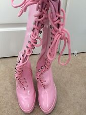 Pink Patent Lace Up Knee High Platform Go-Go Costume Boots Size 9