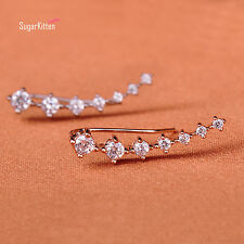 Beautiful 925 Sterling Silver Sparkling CZ Line Cuff Climber Crawler Earrings