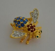 JOAN RIVERS RED, WHITE, & BLUE CRYSTAL BEE PIN BROOCH - MINT CONDITION
