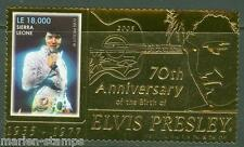 SIERRA LEONE  70th BIRTH ANNIVERSARY ELVIS PRESLEY GOLD FOIL STAMP MINT NH
