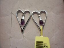 Lucy Q Melting Heart Collection Amethyst Earrings in 925 Sterling-1.25 Carats