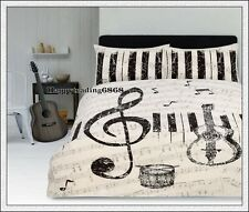 Retro Maestro Music Guitar Piano Ivory * QUEEN QUILT DOONA COVER 2 PILLOW CASES