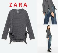 ZARA Checked Top Asymmetrical Hem with Frills Long Sleeve New (RT$55) Top S+ (M)