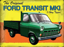 Ford Transit Mk1 Pickup Van, Classic Garage Mark 1 Tipper, Small Metal/Tin Sign