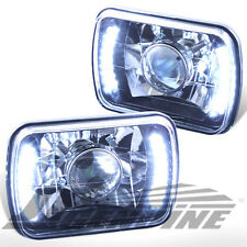 7X6 DIAMOND CUT LED BLACK HOUSING PROJECTOR HEADLIGHTS - UNIVERSAL
