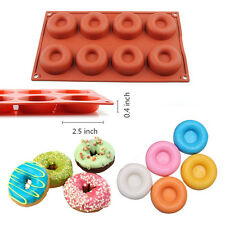 8 Cavity Silicone Donut Pan Muffin Cups Cake Cupcake Liners Doughnut Baking Mold