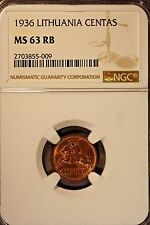 1936 Lithuania Centas NGC MS 63 RB             ** Free U.S. Shipping **
