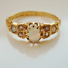 Antique Edwardian 18ct Gold Opal & Diamond Ring c1905; UK Ring Size 'N'