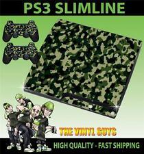 PLAYSTATION PS3 SLIM VERDE MILITAR COMBATE CAMUFLAJE PEGATINA CARCASA & 2 PAD