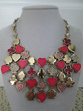 NWT Auth Betsey Johnson Casino Royale Heart Spade Charm Bib Statement Necklace