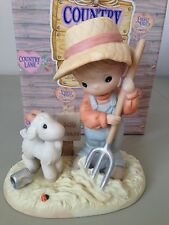 PRECIOUS MOMENT FIGURINE - FORK OVER THOSE BLESSINGS TO OTHERS - 307033 -RETIRED