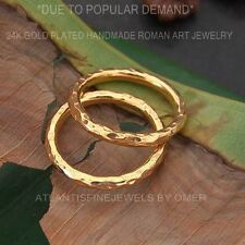 2  PCS HAMMERED DESIGNER STACK RING SET BY OMER 24K YELLOW GOLD OVER 925 SILVER