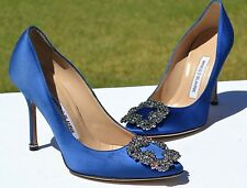 New Manolo Blahnik Hangisi Jeweled Blue Satin Pumps Size 36 / 6 $965
