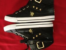 Bianca Black/Gold Accent High Top Sneakers by U.S. Polo Assn - Size 7.5M - NEW!